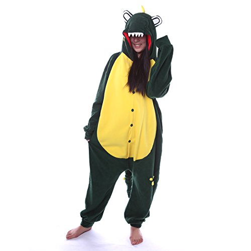 DELEY Unisex Adulto Onesie Anime Cosplay Costume Cartoon Animali Kigurumi Pigiama di Felpa Pigiameria Coccodrillo Blu L