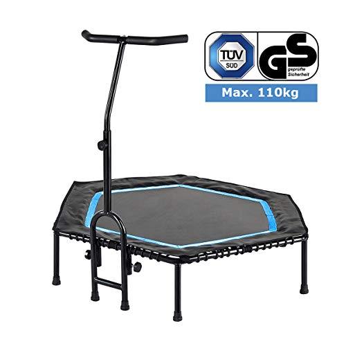FA Sports Unisex- Erwachsene FlyJump Fit Indoor Fitness Trampolin, schwarz, blau, Ø 126 x 114 cm