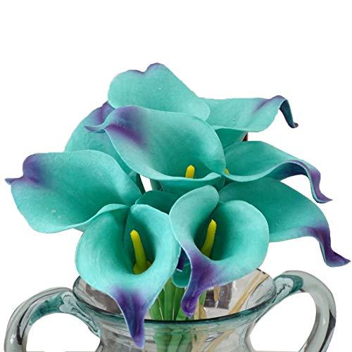 Calcifer Real Touch Latex Calla Lily Hochzeit Bouquet Blumensträuße (türkis & Gelb Herz, 20PCS) (Türkis-blumenstrauß)