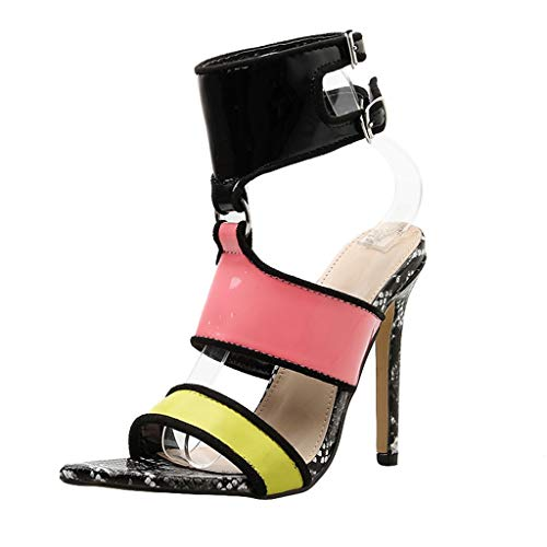 xmansky Damen Sommer Sandalen Wedges Leopard Casual Schuhe Strap Gladiator Roman Sandalen, Damen Sommer Casual Fashion Snake Muster Schnalle Sandalen High Heels Schuhe -