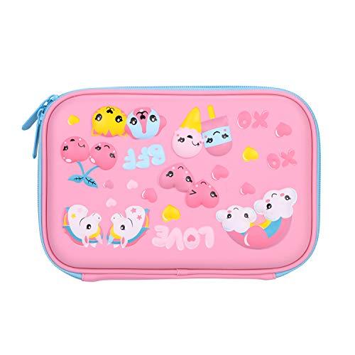 Astuccio a forma di unicorno, con grande capacità, per bambini, portapenne, con tasca interna, porta penne, organizer per matite, per bambine 22.5 x 15.5 x 4 cm(lxbxh) rosa
