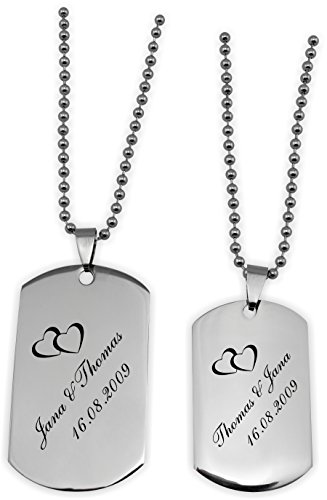 *DogTags Erkennungsmarken Silber Partner für Sie und Ihn mit Gravur Wunschtext, viele schöne Motive zur Auswahl.*
