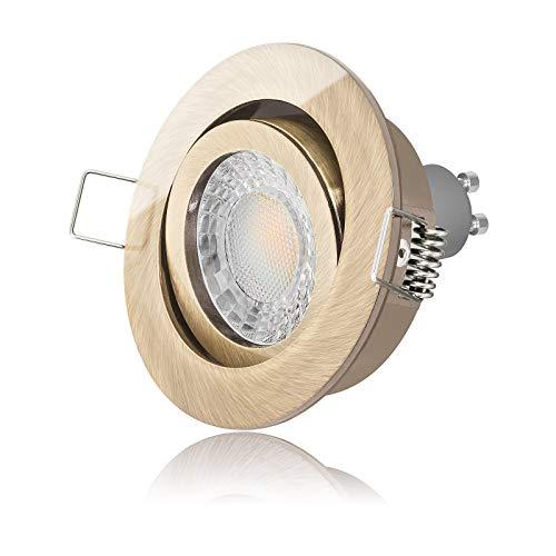 Led Einbaustrahler Set dimmbar & schwenkbar inkl. Einbaurahmen Messing-optik 230V 7W GU10 3000k warm-weiß Decken-einbau-strahler-lampe-spot-leuchte-beleuchtung (5er Set)