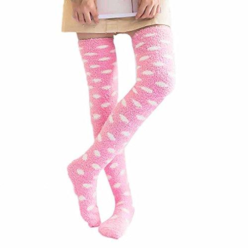 BZLine Strümpfe, Frauen-Mädchen-Winter über Knie-Bein-Wärmer-weiche Baumwollsocken Legging (Pink) (Über Knie-bein-wärmer)