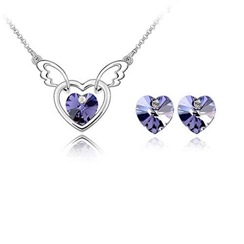 Parure coeur ailé cristal swarovski elements plaqué or blanc Violet