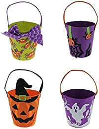 Tradico® 12x Halloween Non-Woven Messenger Bag Handhold Bucket Treat Bag Candy Bag Green