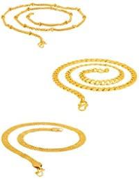 Dare Assorted Yellow Gold Plated Chains Combo