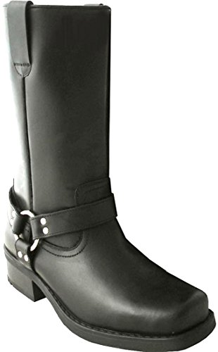 Stiefel Leder für Herren Länge Wadenlang, Stil Terminator Biker Cowboy mit Socken, Schwarz - Schwarz - Schwarz - Größe: 44 (Boots Toe Black Square)