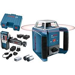 Bosch Professional Laser rotatif GRL 400 H (1 batterie NiMH, 2 piles 1,5 V LR20, 2 x 1,5 V LR20 (D), 1 pile 9 V, Portée 20 m, Laser Rouge, Coffret)