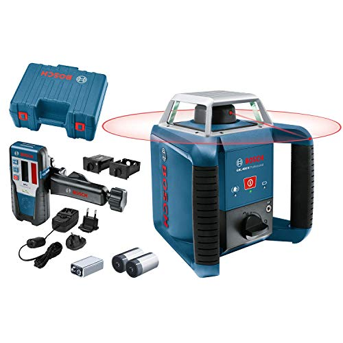 Bosch Professional GRL 400 + LR 1 - Nivel láser giratorio (batería de NiMH, alcance Ø 400 m, receptor, en maletín)