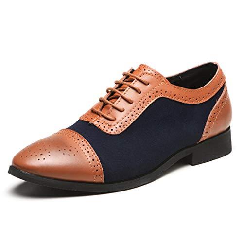 K-Flame Herren Business PU Schuhe Spitzen Kopf Seite Zip formelle Kleidung Schuhe Schuhe für Männer Hochzeit Schuhe Outdoor-Arbeit,Blue,40 -