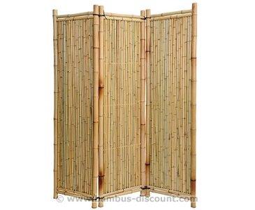 Raumteiler aus gelben Bambus, 150 x 180cm 3teilig - Raumtrenner Paravent mobiler Sichtschutz