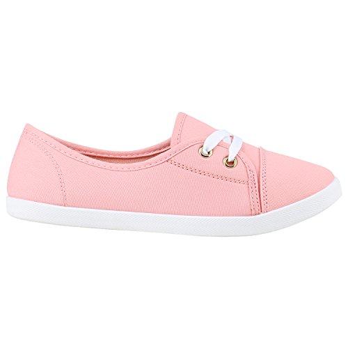 Klassische Damen Ballerinas | Sportliche Stoffschuhe | Slipper Flats | Sneakers Slip-ons | viele Farben Rosa Weiss