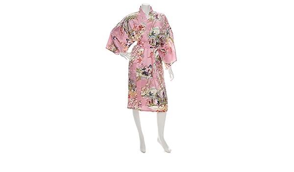 Silk Ukiyoe Print Short Pink Japanese Kimono