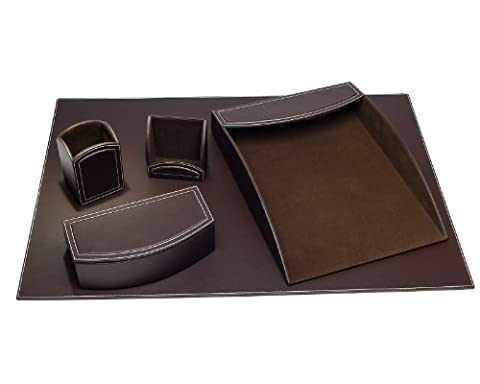 Dacasso 5-Piece Faux Leather Desk Set, Espresso Brown by Dacasso