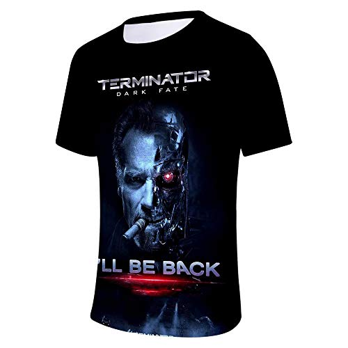 Ywfzzxs T-Shirt 3D Tops Mode-T-Shirts Unterhemden Kurzarm Unisex Neuheit Kostüm HD Anime Druck Terminator Dark Fate