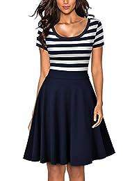 MIUSOL Damen Sommer Vintage Streifen Rundhals Retro Schwingen Pinup Rockabilly 1950er Kleid Navy Blau Gr.S-XXL