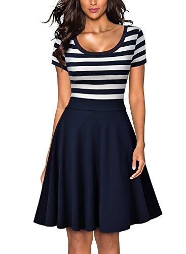 MIUSOL Sommer Vintage Streifen Rundhals Retro Schwingen Pinup Rockabilly 1950er Kleid Navy Blau