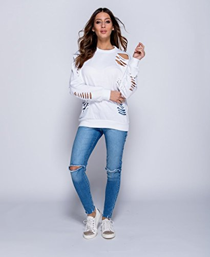 Ladies Distressed Laser Cut Sweat EUR Taille 36-42 Blanc