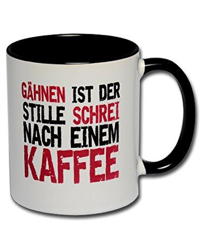 """Spruchtasse Funtasse Bürotasse Kollegentasse Tasse mit Spruch Kaffeetasse Tasse mit Aufdruck """"Gähnen ist der stille Schrei nach einem Kaffee"""""""