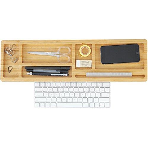 WEN Aufbewahrungsbox Schreibtisch Organizer Bambus Kreative Multifunktions Desktop Organizer Computer Tastatur Halter Bürobedarf Regal (4cm, 6cm) Naturholz (größe : Large) (Tastatur Für Desktop-organizer)