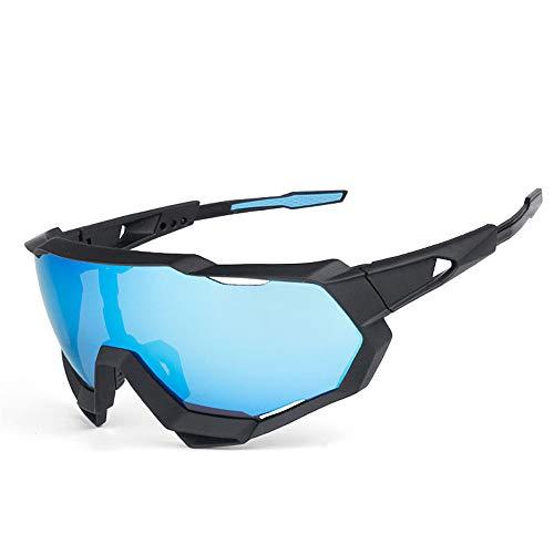 Sport-Sonnenbrille, groß, Blau, verspiegelt, UV-Schutz, Bewegung, kann ersetzt Werden, Fahrradbrille, zum Schutz des Angelns und Camping in der Wildnis, zum Radfahren, Laufen