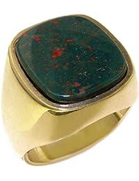 Luxury 9ct Yellow Gold Mens Large Cushion Cut Bloodstone Signet Ring