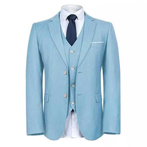 MAGE MALE Herren 3-teiliges Anzug Elegant Solide Zwei Knöpfe Slim Fit Einreihig Party Blazer Weste Hosen Set - Blau - XX-Large -