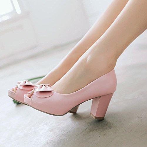 Mee Shoes Damen süß modern bequem mit Schleife Peep toe dicker Absatz Shallow Mund Plateau Pumps Pink