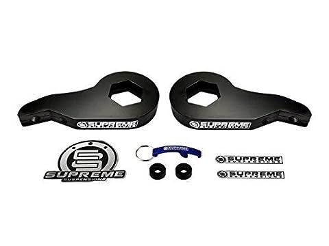 Supreme Suspensions - Chevy Silverado 1500 1-3 Adjustable Front Steel Torsion Keys Front Suspension Leveling Lift Kit 4WD 4x4 6 Lug High-Strength Carbon Steel (Black) PRO by Supreme Suspensions