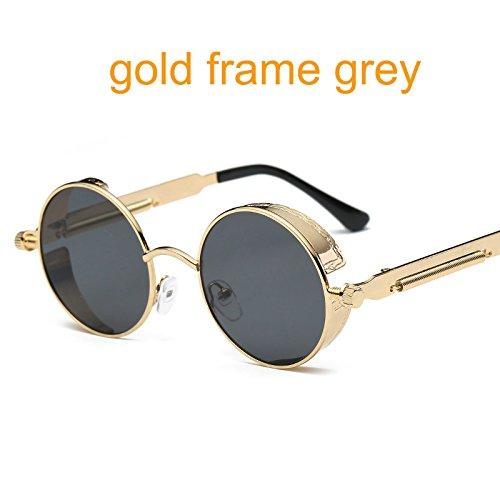 Aprigy Gothic Steampunk Runde Metall Sonnenbrillen f¨¹r M?nner Frauen Mirrored Kreis Sun-Glas-Marken Designer Retro Vintage Oculos [Gold Frame Grau]