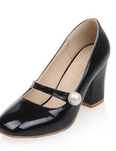 WSS 2016 Chaussures Femme-Habillé / Soirée & Evénement-Noir / Rouge / Blanc-Gros Talon-Talons / Bout Carré-Talons-Cuir Verni white-us4-4.5 / eu34 / uk2-2.5 / cn33