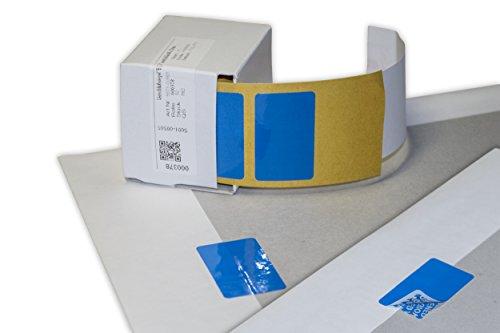 ten - Sicherheitsetikett 40 x 20 mm zum Nachweis von Manipulationsversuchen, 50 Stück in Spendebox (Blau) ()