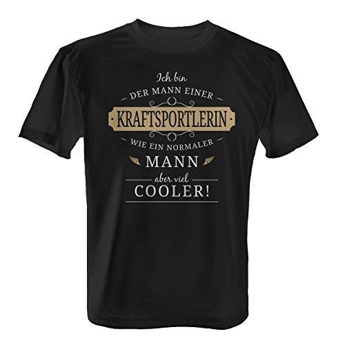 Fashionalarm Herren T-Shirt - Mann einer Kraftsportlerin | Fun Shirt mit Spruch Geschenk Idee verheiratete Paare Ehemann Pumpen Fitness Studio, Farbe:schwarz;Größe:XS