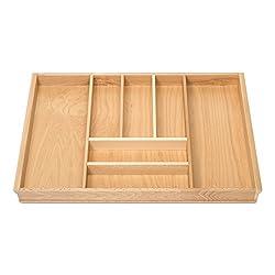 Orga-Box BUCHE Besteckeinsatz für 80er Schublade z.B. Nobilia ab 2013 (473 x 697 mm) Holz-Schubladeneinsatz mit 7 Fächer III
