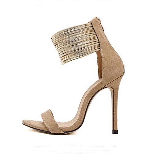 Zarupeng scarpe donna tacco eleganti sexy plateau sandali donna con tacco estivi e plateau medio largo eleganti - estate diamante tacco alto donna sandali tacchiy (marrone,41 eu)