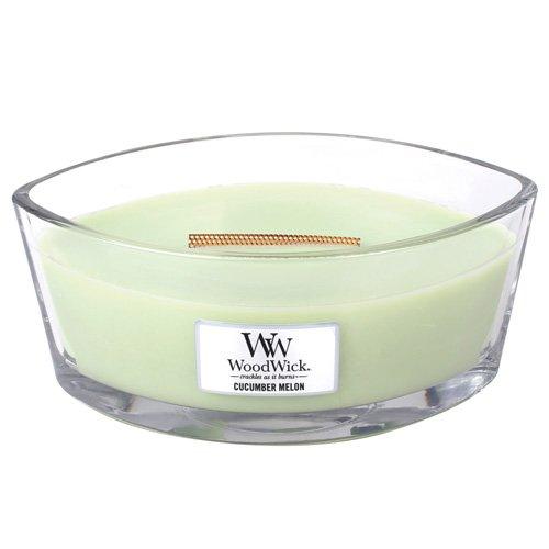Frische Gurke Melone Kerze (Woodwick Gurke und Melone Duftkerze in elliptischem Glasgefäß mit Heartwick Holzdocht 453.6 g, Glas, grün, 11.4 x 18.7 x 8.8 cm)