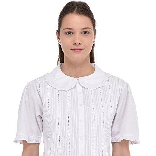 Cotton Lane Klassische Weiße Baumwolle Peter Pan Kragen Vintage Reproduktion Bluse (Peter-pan-kragen-bluse)