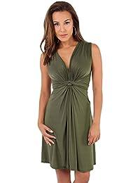 KRISP Damen Kleid Vorn geknotetes gerafftes Partykleid in vielen Farben
