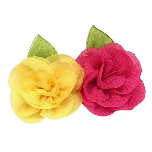 2X Haarklammer Haarblume Party Haarspange Haarschmuck Pink + Gelb