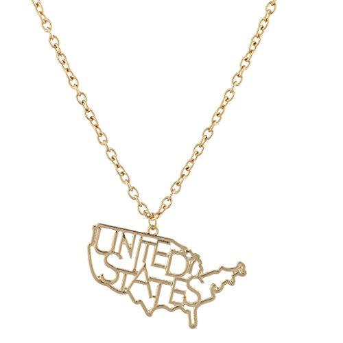 LUX Zubehör Gold Ton Vereinigten Staaten Form Verbiage Neuheit Charm Halskette (Neuheit Ernte)