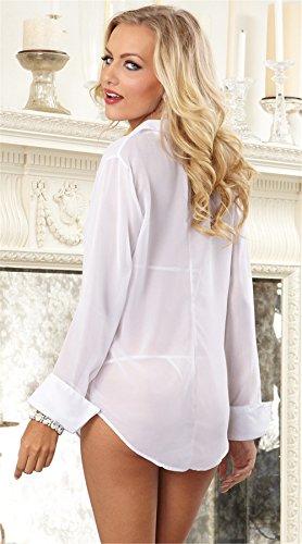 CZIXUN Lingerie Femme Ensemble Perspective Chiffon Shirt Manche Longue Blanc
