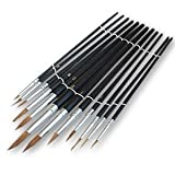 Toolzone 12 Piece Pointed Artist Brush Set