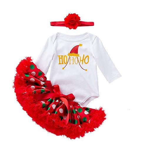 Togelei Baby Weihnachten 3pc Set Neugeborenen Baby Mädchen Weihnachten Strampler + Tutu Rock Overall Outfits Spitze Bogen Prinzessin Kleid Elk Print O-Neck Cotton Fashion Tops