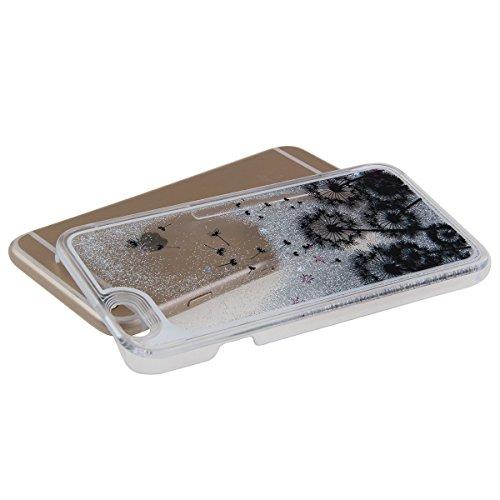 Voguecase® für Apple iPhone 5C , Flüssig Fließende Sparkly Bling Glitzer Stern Treibsand Star Quicksand (Harte Rückseite) Hybrid Hülle Schutzhülle Case Cover (Silber/Löwenzahn) + Gratis Universal Eing Silber/Löwenzahn 13