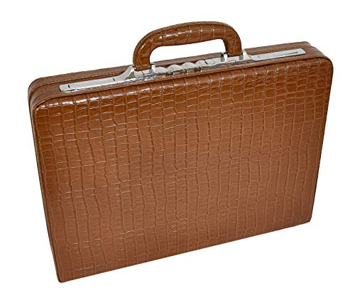 Echtes Leder Croc Druck Aktenkoffer Executive Geschäft Slimline Aktentasche HLG1211 Braun (Executive-aktenkoffer-tasche)