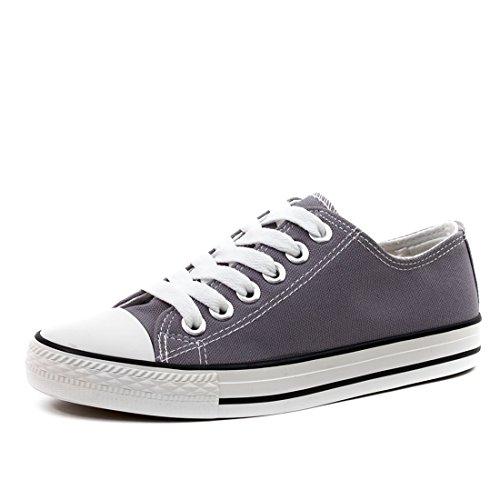 Trendige Unisex Damen Herren Schnür Sneaker Low Top Schuhe Canvas Textil Dunkelgrau 45