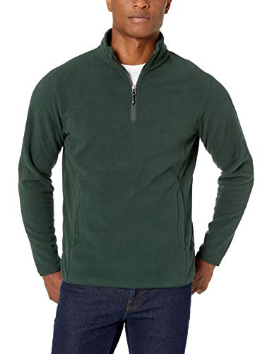 Amazon Essentials Quarter-Zip Polar fleece-outerwear-jackets, Forest Green, Small -