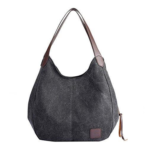 PB-SOAR Damen Mädchen Modern Canvas Shopper Schultertasche Handtasche Henkeltasche Hobo Bag Beuteltasche (Schwarz) (Schwarz Hobo Stoff Handtaschen)