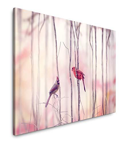 Paul Sinus Art Vögel auf Ästen 180 x 120 cm Inspirierende Fotokunst in Museums-Qualität für Ihr Zuhause als Wandbild auf Leinwand in XXL Format -